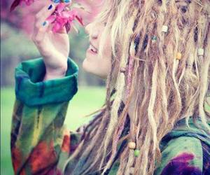 dreads, flowers, and dreadlocks image