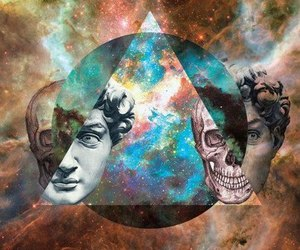 galaxy, triangle, and skull image