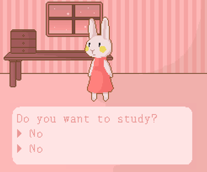 bunny, study, and pink image