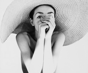hat, black and white, and model image