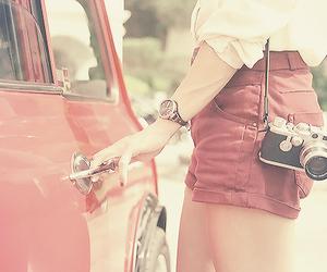 camera, girl, and car image