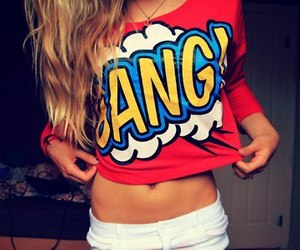 girl, bang, and red image