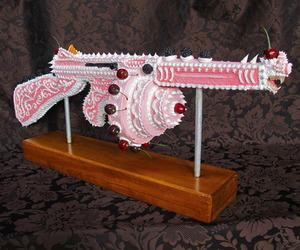 cake, gun, and pink image