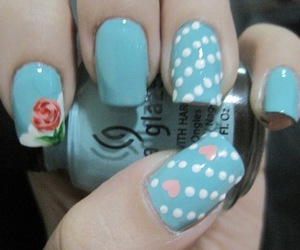 blue, flowers, and nail image