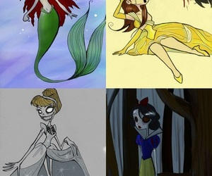 beauty and the beast, little mermaid, and snow white image