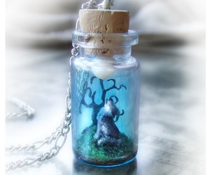 bottle, wolf, and necklace image