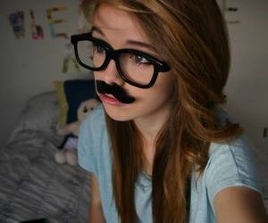 girl, glasses, and moustache image