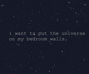 bedroom, universe, and text image