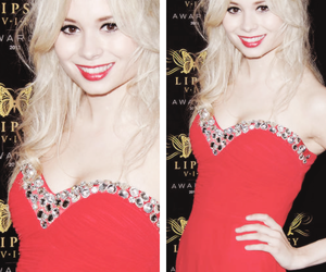 dress, hair, and red image