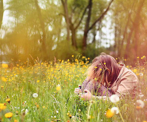 girl, flowers, and photography image