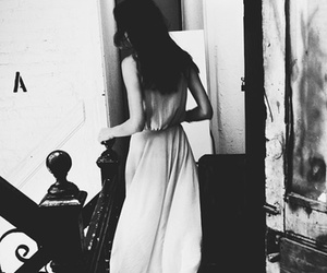 girl, black and white, and dress image