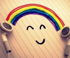 music, rainbow, and happy image