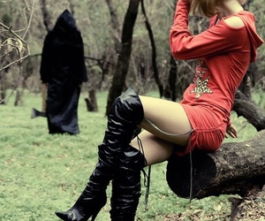 girl, leather, and scene image
