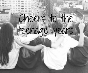 black and white, teenager, and cheers image