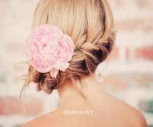 braid, flower, and hair image