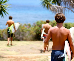 beach, surfing, and boy image