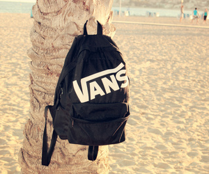 vans, beach, and backpack image