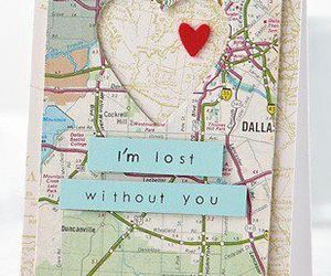 heart, lost, and map image