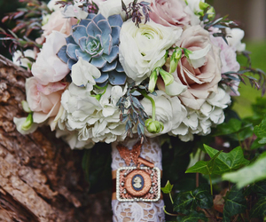 bouquet, succulent, and wedding inspiration image