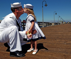 dad, child, and kiss image