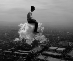 clouds, boy, and black and white image