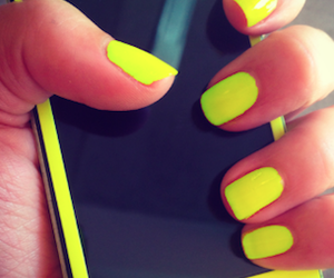 yellow, nails, and iphone image