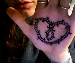 Barbed Wire, hand tattoo, and heart image