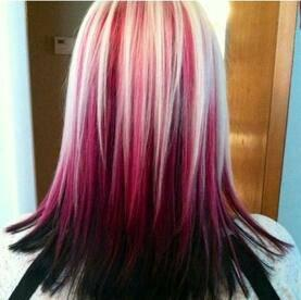 Black hair with white and red highlights best blackhair 2018 red white hair hairstyles and beauty on we heart it pmusecretfo Images