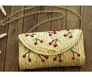 bag, cherries, and embroidery image