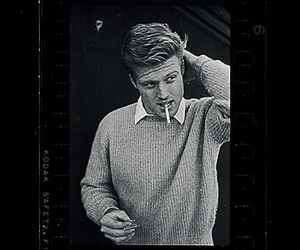 black and white and robert redford image