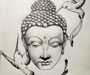 art, bird, and buddhism image