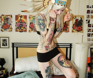 bed, stop wearing headdresses, and blonde girl image