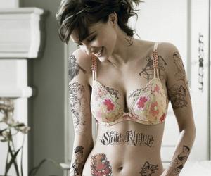bra, Tattoos, and girl image