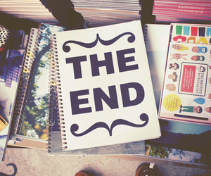 the end, book, and end image