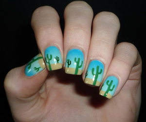 nails, blue, and cactus image