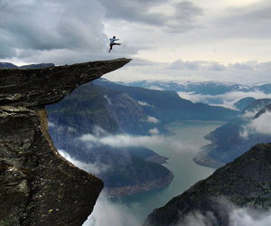 alone, jump, and mountain image