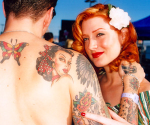 flower, girl, and rockabilly image