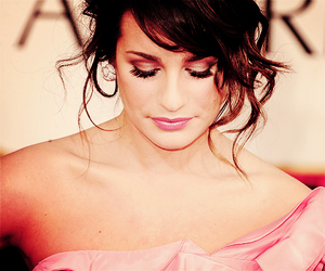 golden globes, lea michele, and pink dress image