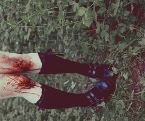 blood, shoes, and grass image