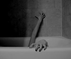 black and white, bath, and depressed image