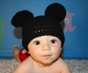 baby, mickey mouse, and hat image