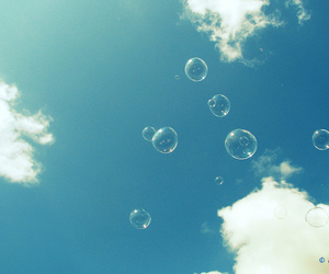 bubbles, sky, and clouds image