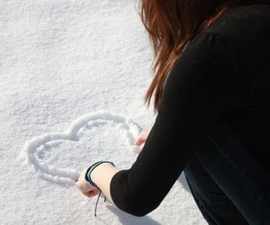 heart, girl, and snow image