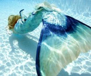 mermaid, blue, and ocean image
