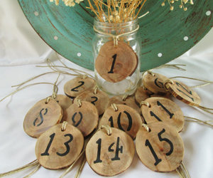 wedding table, rustic table numbers, and table numbers image