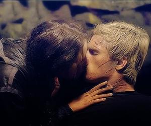 kiss, peeta, and katniss image
