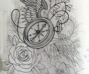 roses, sketch, and tattoo image
