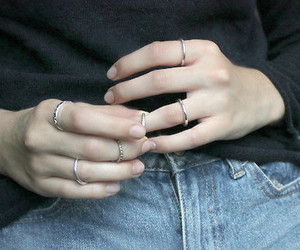 hands, jeans, and silver image