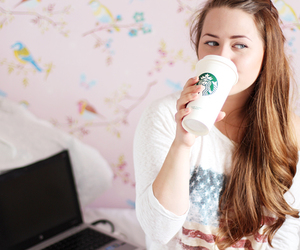brunette, coffee, and food image