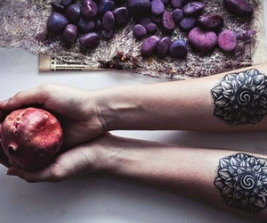 fruit, photography, and ink image